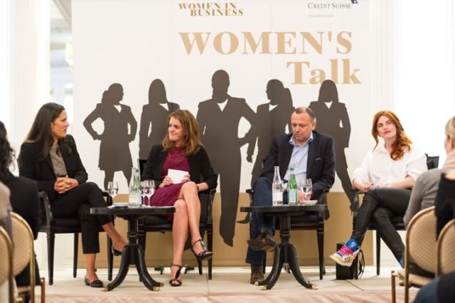 v. l. n. r. Barbara Beckenbauer, Yvonne Zurbrügg, Daniel Regli, Kafi Freitag, Women's Talk