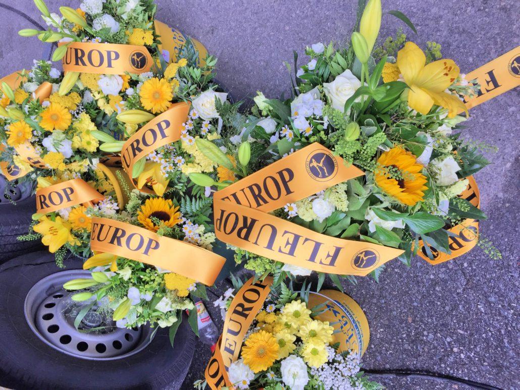 Blumen für den Sieger.