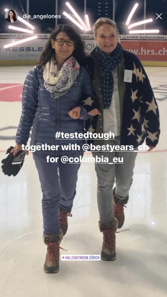 Rita Angelone vom Familienblog >dieangelones.ch< und ich beim Walk on Ice.